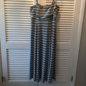 Torrid Gray and White Strip Maxi Dress